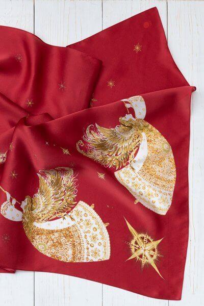 Платок с ангелами из шелка 100*100 OLZ_KS_SS172, фото 1 - в интеренет магазине KAPSULA