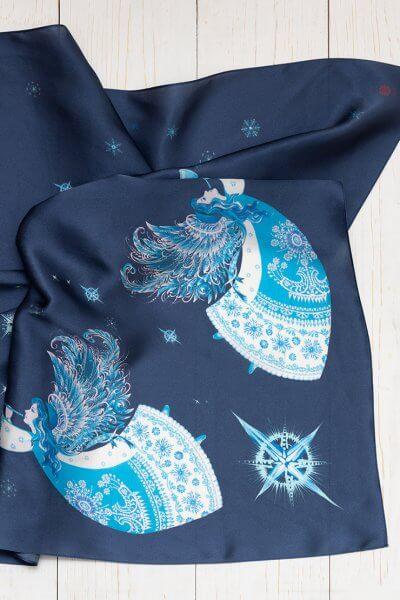 Платок с ангелами из шелка 100*100 OLZ_KS_SS176, фото 1 - в интеренет магазине KAPSULA