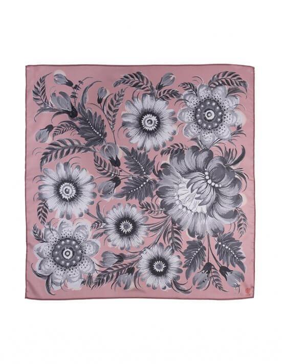 Шелковый платок Розовый пепел 50*50 OLZ_KS_SS162, фото 6 - в интеренет магазине KAPSULA