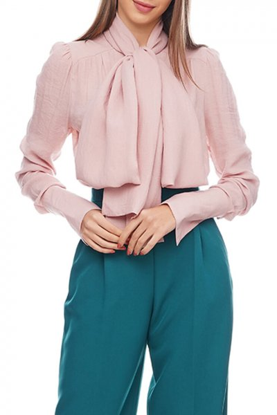 Блуза с шарфом из хлопка AY_2912, фото 2 - в интеренет магазине KAPSULA