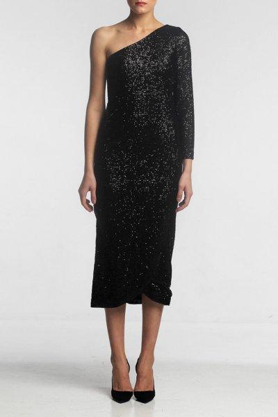 Платье в пайетки на одно плечо ALOT_100364, фото 3 - в интеренет магазине KAPSULA