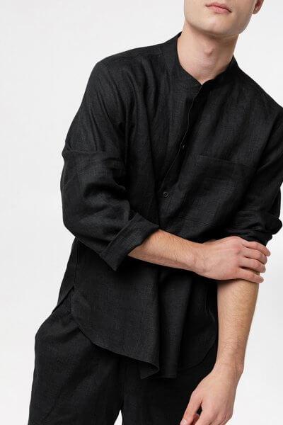 Мужская рубашка из льна BLCGR_590, фото 1 - в интеренет магазине KAPSULA