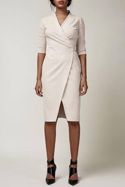 Платье миди на запах CVR_CNY2020BEJ, фото 1 - в интеренет магазине KAPSULA