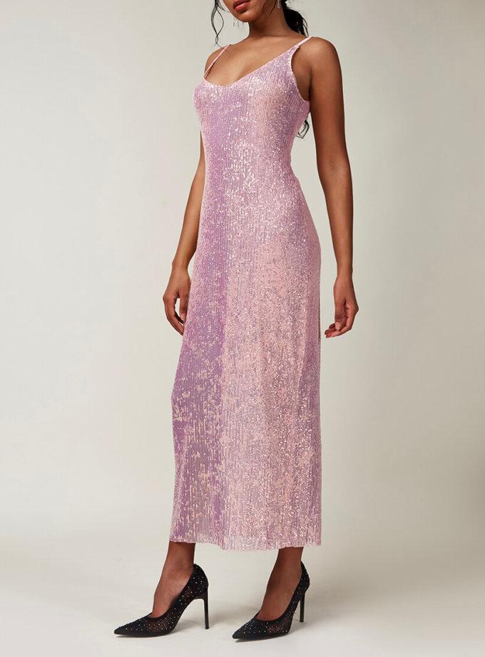 Платье в пайетки на тонких бретелях CVR_CNY2020ROZ, фото 1 - в интернет магазине KAPSULA