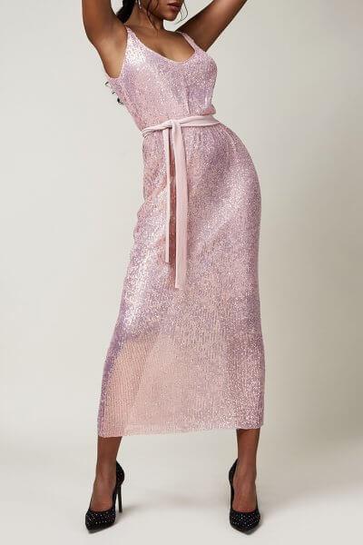 Платье в пайетки с бархатным поясом CVR_CNY2020ROZP, фото 4 - в интеренет магазине KAPSULA