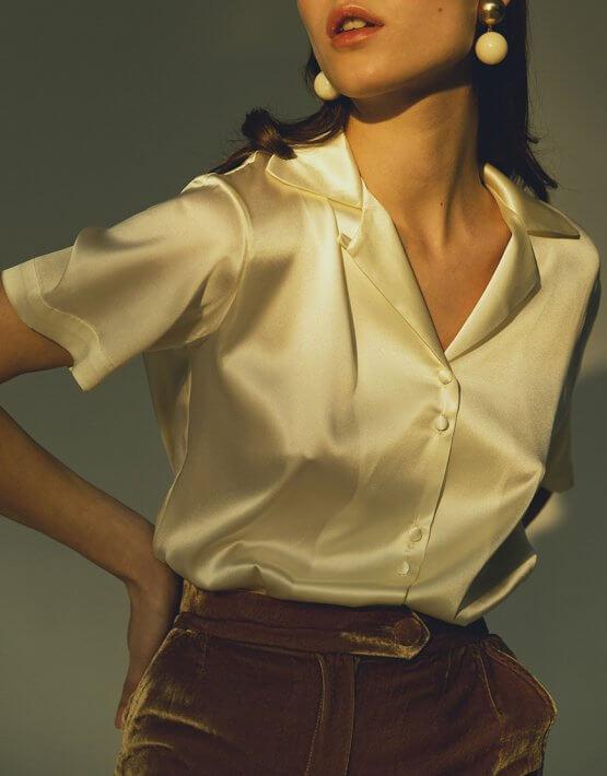 Шелковая блуза с коротким рукавом IRRO_IR_WC19_SB_007, фото 4 - в интеренет магазине KAPSULA