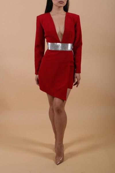 Ассиметричное платье с глубоким вырезом LSO_FW 19-20-3, фото 1 - в интеренет магазине KAPSULA