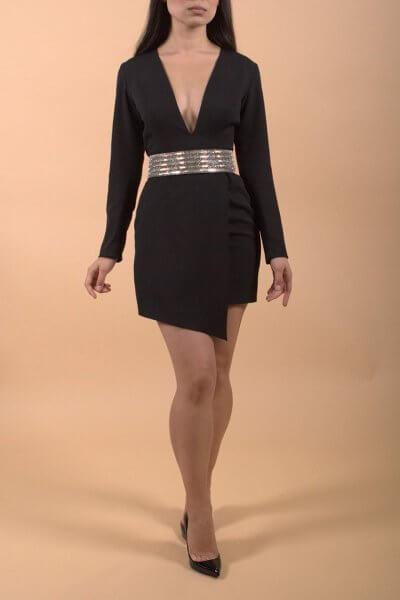 Ассиметричное платье с глубоким вырезом LSO_FW 19-20-4, фото 1 - в интеренет магазине KAPSULA