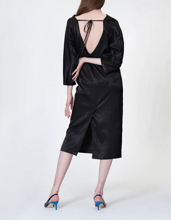 Платье с V-вырезом на  спине MISS_DR 030-black, фото 6 - в интеренет магазине KAPSULA
