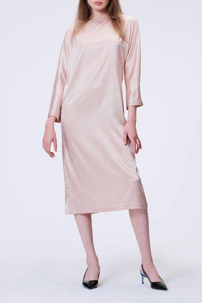 Коктейльное платье с V-вырезом на  спине MISS_DR 030-nude_outlet, фото 1 - в интеренет магазине KAPSULA