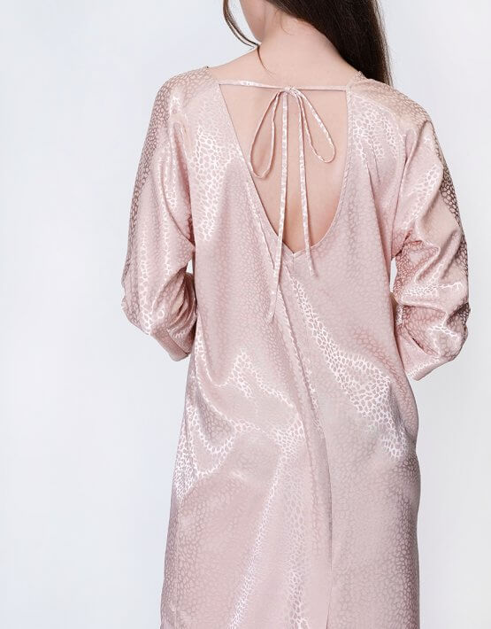 Коктельное платье кимоно с V-вырезом на  спине MISS_DR 030-nude, фото 7 - в интеренет магазине KAPSULA