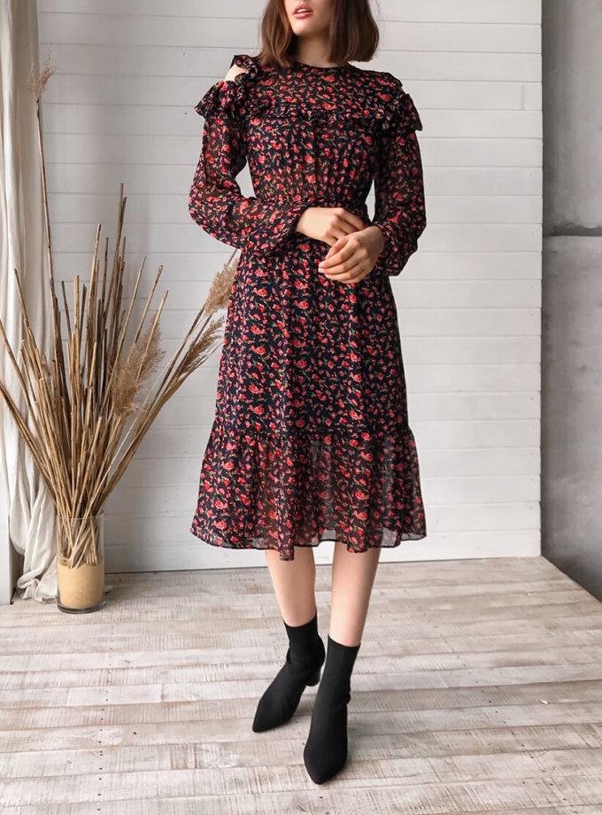 Шифоновое платье миди MRND_М62-1, фото 1 - в интеренет магазине KAPSULA