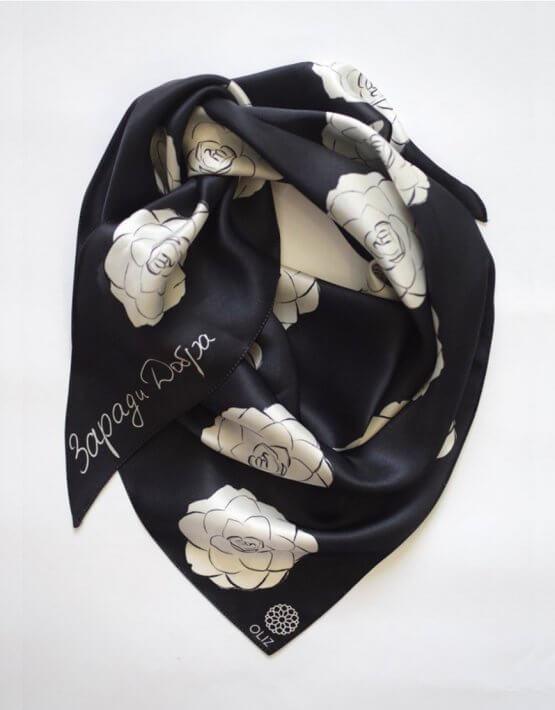Шелковый платок Камелии OLZ_KS_SS139, фото 2 - в интеренет магазине KAPSULA