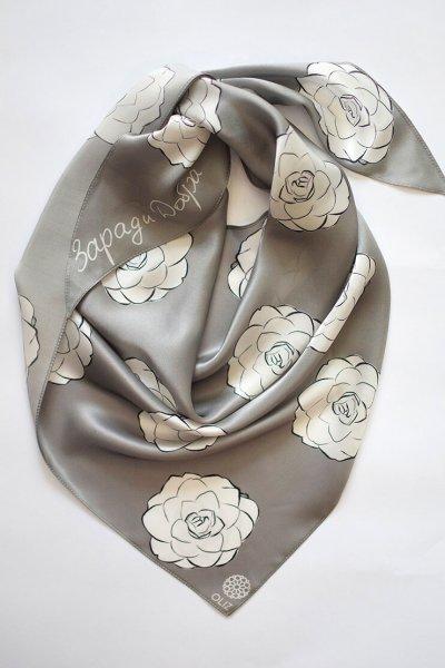 Шелковый платок Камелии OLZ_KS_SS140, фото 1 - в интеренет магазине KAPSULA