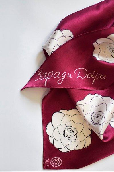 Шелковый платок Камелии OLZ_KS_SS141, фото 1 - в интеренет магазине KAPSULA