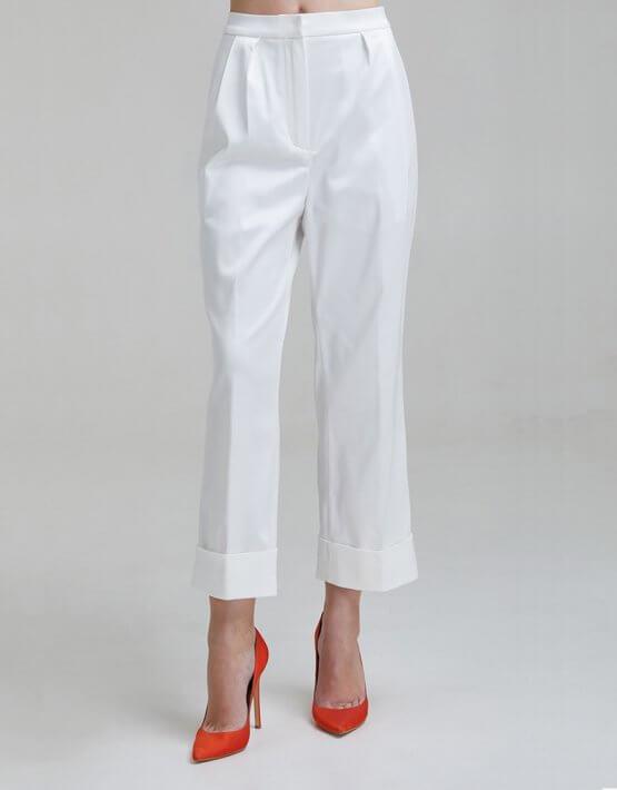 Укороченные брюки на высокой посадке SAYYA _FW953, фото 5 - в интеренет магазине KAPSULA