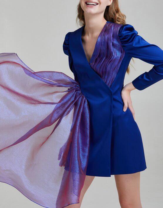 Атласное платье-жакет SAYYA _FW955, фото 6 - в интеренет магазине KAPSULA
