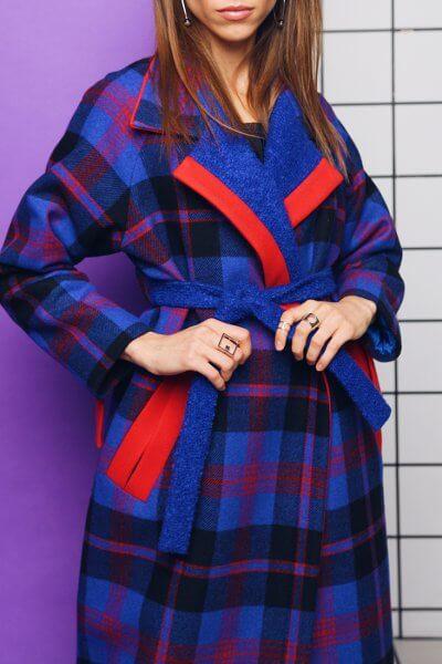 Зимнее пальто из шерсти в клетку TBC_19070w_1912, фото 1 - в интеренет магазине KAPSULA