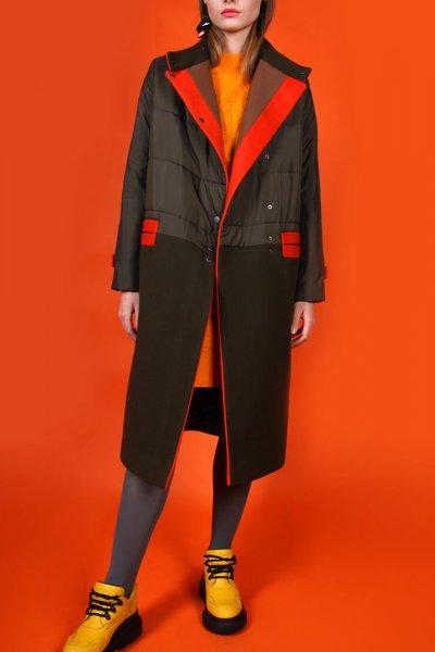 Комбинированное пальто на утеплителе TBC_19073plw_0916, фото 3 - в интеренет магазине KAPSULA