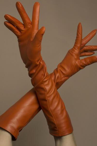 Перчатки до локтя из кожи TOBE_lg_07_or_sl, фото 1 - в интеренет магазине KAPSULA