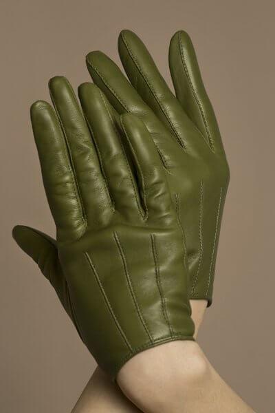 Перчатки укороченные на кнопке из кожи TOBE_md_21_gr_00, фото 1 - в интеренет магазине KAPSULA