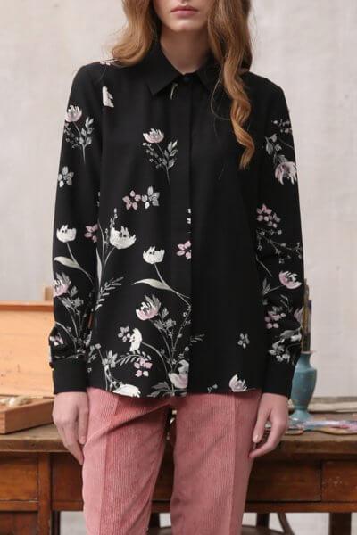 Блуза в цветочный принт VONA_FW-19-20-108, фото 1 - в интеренет магазине KAPSULA