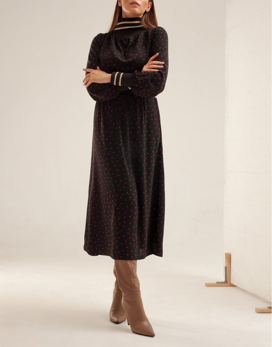Платье миди в горох XM_basic14, фото 4 - в интеренет магазине KAPSULA
