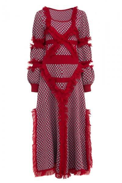 Платье из шерсти с бахромой YCHRV_232, фото 1 - в интеренет магазине KAPSULA