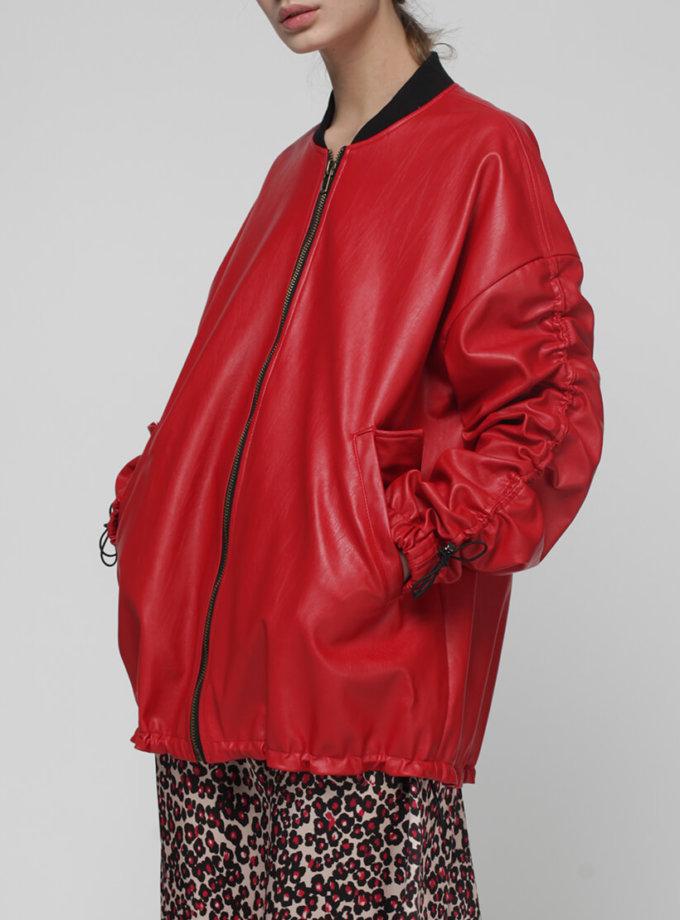 Бомбер из эко-кожи на кулисках MISS_JA-009-red, фото 1 - в интеренет магазине KAPSULA