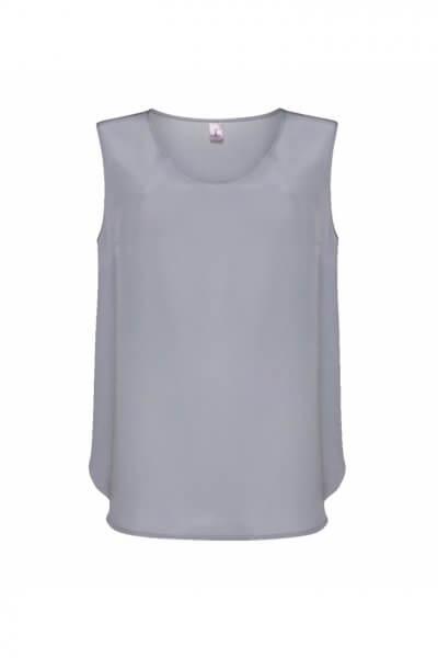 Шелковая блуза без рукавов LKC_BLL1904-gray, фото 1 - в интеренет магазине KAPSULA