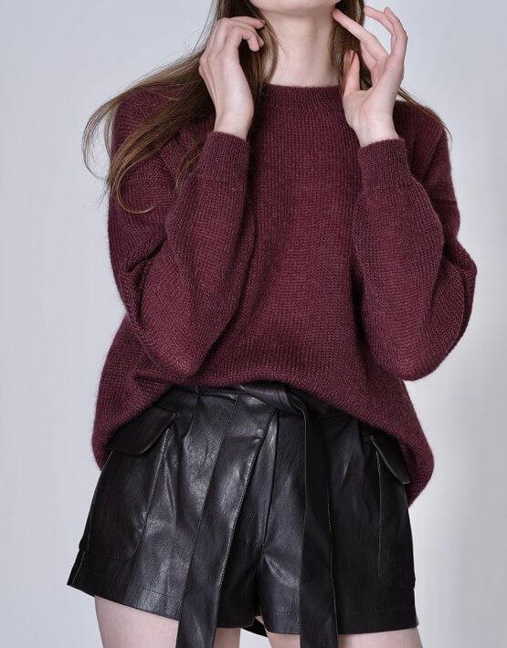 Тонкий свитер из мохера MISS_PU-013-brown, фото 5 - в интеренет магазине KAPSULA