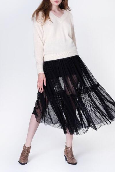Двухслойная юбка с оборкой MISS_SK-008-black_outlet, фото 1 - в интеренет магазине KAPSULA