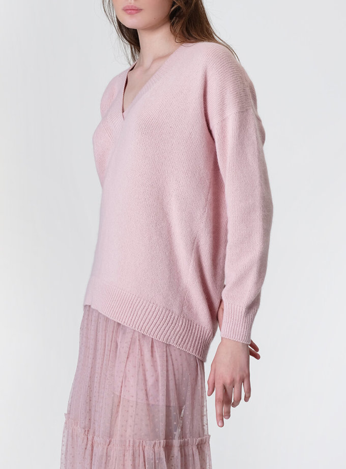 Обьемный джемпер из ангоры MISS_PU-017-pink_outlet, фото 1 - в интеренет магазине KAPSULA