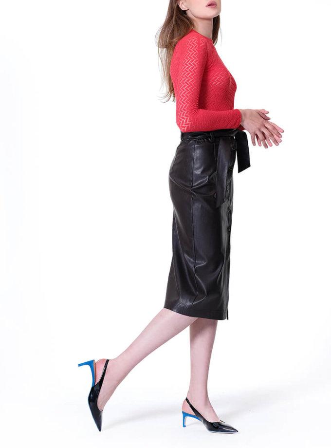 Юбка из эко-кожи на кнопках MISS_SK-007-brown_outlet, фото 1 - в интеренет магазине KAPSULA