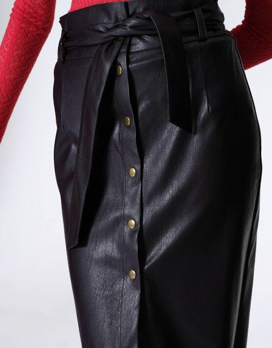 Юбка из эко-кожи на кнопках MISS_SK-007-brown_outlet, фото 7 - в интеренет магазине KAPSULA