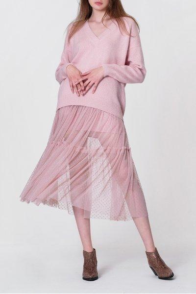 Двухслойная юбка с оборкой MISS_SK-008-pink_outlet, фото 1 - в интеренет магазине KAPSULA