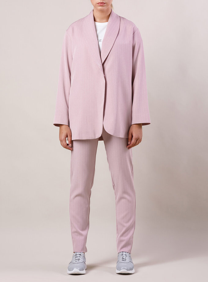 Брючный костюм с поясом MMT_015-047-gray-lavander, фото 1 - в интернет магазине KAPSULA