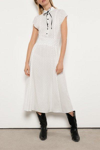 Винтажное платье из хлопка OTS_1807-whitepolkadot, фото 1 - в интеренет магазине KAPSULA