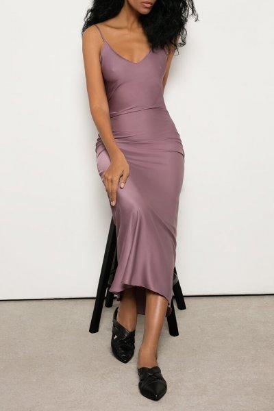 Платье на тонких бретелях из шелка OTS_2-30-lilac, фото 1 - в интеренет магазине KAPSULA