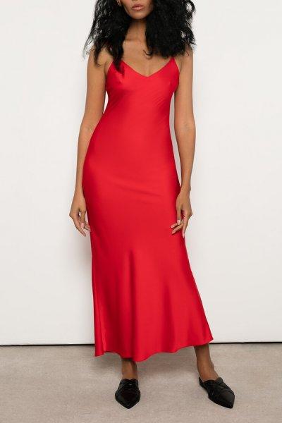 Платье на тонких бретелях из шелка OTS_2-30-red, фото 1 - в интеренет магазине KAPSULA