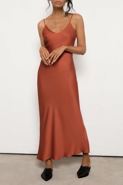 Платье на тонких бретелях из шелка OTS_2-30-terracotta, фото 1 - в интеренет магазине KAPSULA