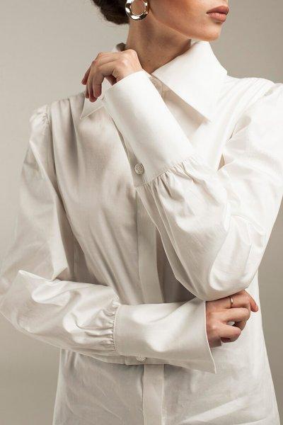 Удлиненная рубашка с широкими манжетами STP_1806, фото 1 - в интеренет магазине KAPSULA