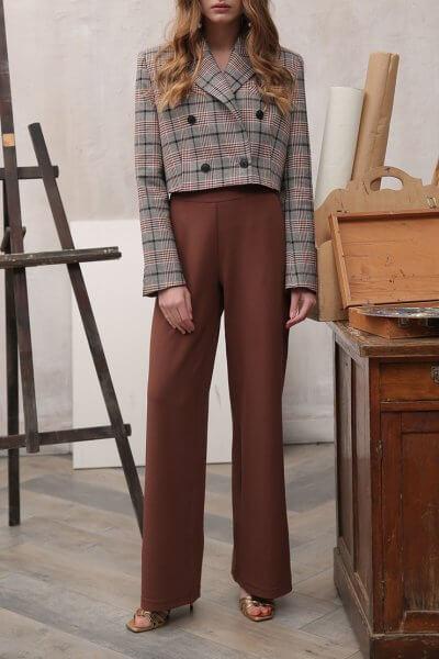 Брюки широкие коричневые VONA_FW-19-20-115, фото 1 - в интеренет магазине KAPSULA