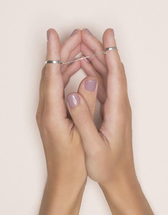 Двойное кольцо с цепочкой из серебра YSB_KL-7010, фото 8 - в интеренет магазине KAPSULA