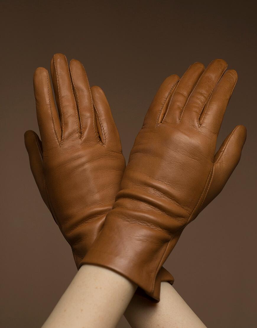Кожаные перчатки на подкладе TOBE_cl_45_br_sl, фото 1 - в интеренет магазине KAPSULA