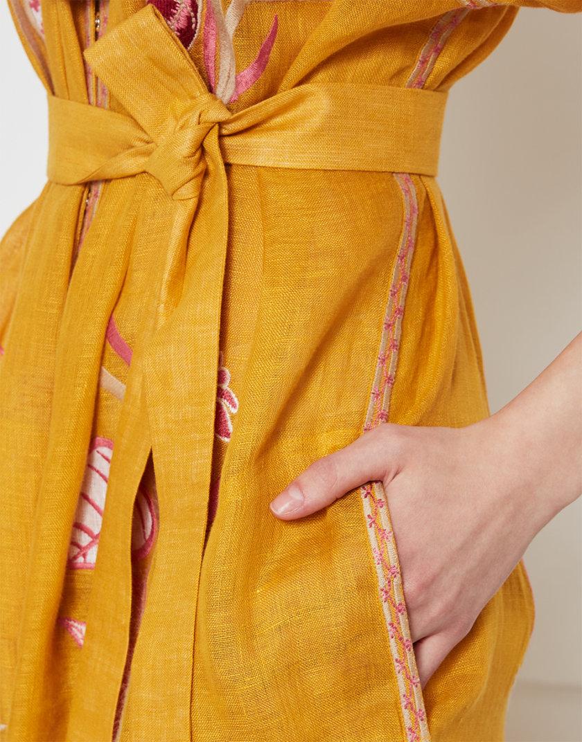 Платье Эдэм из льна  с вышивкой FOBERI_SS20032, фото 1 - в интернет магазине KAPSULA