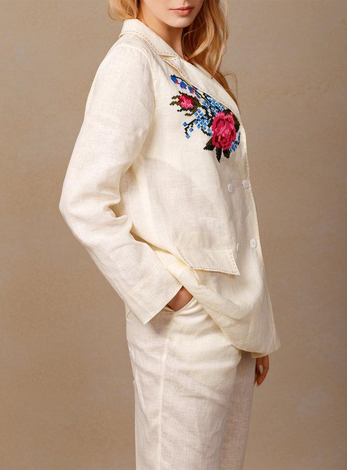Брючный костюм Роза из льна с вышивкой FOBERI_SS20040, фото 1 - в интернет магазине KAPSULA