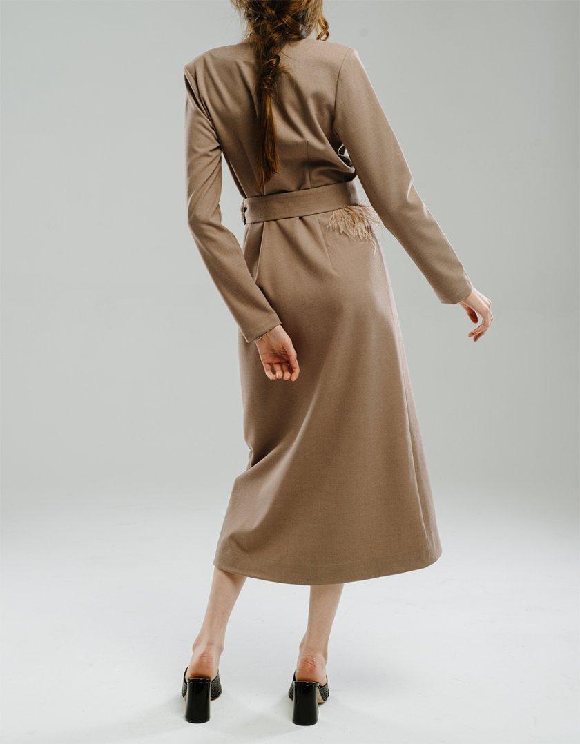 Платье на запах с перьями MNTK_MTDRS204, фото 1 - в интернет магазине KAPSULA