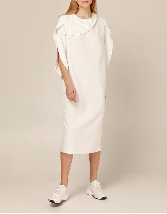 Платье миди со вставками плиссе AY_2893, фото 5 - в интеренет магазине KAPSULA