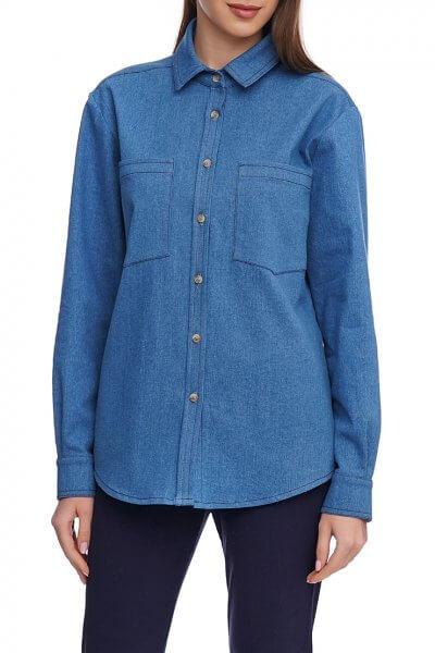 Джинсовая рубашка с накладными карманами AY_2922, фото 1 - в интеренет магазине KAPSULA